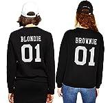 JWBBU Bets Friends Sweatshirt für Zwei Mädchen Beste Freunde Pullover Sister Hoodie BFF Partner Look Pulli Freundschaft Rundhals-Pulli Geschenk 2 stücke(Schwarz+Schwarz,Blondie-S+Brownie-L)