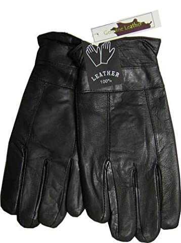 Fleece Lined Thermal Insulated Genuine Black Leather Mens Gloves (m)