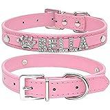 Berry Weiches PU-Leder-Halsband mit individuellen Strass-Kristallen & Charms, für kleine und mittelgroße Hunde, schwarz, blau, pink, rot, weiß, XS, S, M, L, personalisierbar