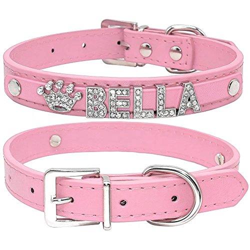 Collar de perro de Berry, de piel sintética, suave, letras y abalorios con cristales de imitación,...
