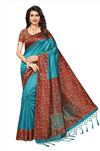 Applecreation women\'s art silk saree with blouse piece (SRJM021_Green_Free Size)