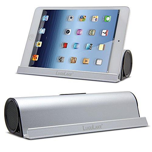Lugulake Tragbare Lautsprecher mit 6W Dual-Treiber Wireless Speaker und Ständer für iPhone, iPad, Samsung, Nexus, HTC und andere Android Geräte (Silber)
