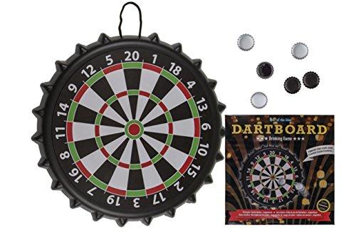 EuroDiscount Trinkspiel Partyspiel magnetische Dartscheibe XL mit 8 Kronkorken Ø 41 cm 1 Stück