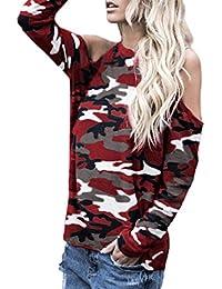 Ode Joy Top Mimetico a Spalla Manica Lunga da Donna T-Shirt Camouflage  Cocktail con Maniche Corte E Stampa Floreale Vestito Festa Casual… a795a5a2121