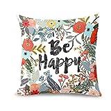 Seien Sie glücklich umgeben mit Blumen und Pflanzen personalisierte Sofa Kissenbezug Brief drucken Super weicher Kissenbezug-Quadrat Wurf Kissenbezüge Set-Kissen Fall für Sofa Schlafzimmer Auto (Mehrfarbig, 45x45cm)