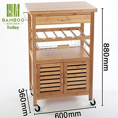 Bakaji Carrello Cucina in legno di Bambù BAMBOO con Portabottiglie ...
