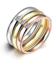 Juego de 3 anillos de acero inoxidable chapados en oro, con zirconia cúbica, de NYKKOLA. Anillos de boda…