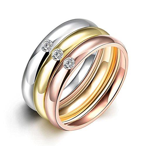 NYKKOLA gioielli in acciaio inox placcato oro, con zirconia cubica, 3 pezzi, Zriconia Ariel-Anello A fascia da matrimonio, da 6 A 9, acciaio inossidabile, 56 (17.8), cod. XGTGR035-A-7