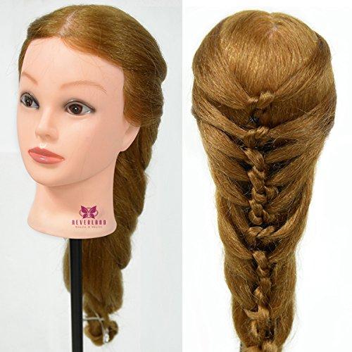Neverland 24'' Têtes d'exercice avec Maquillage 95% Cheveux Naturel pour le Salon Coiffeur Poupée avec Support