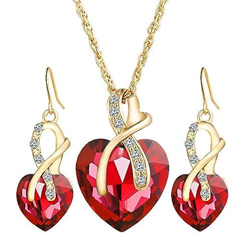 Femme Belles Élégant Alliage Zircon Cristal Forme De Cœur Boucles D'Oreilles Collier Ensemble De Parures Rouge