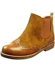 Angkorly - Zapatillas de Moda Botines chelsea boots bimaterial mujer acabado costura pespunte Talón Tacón ancho 2 CM - Camel