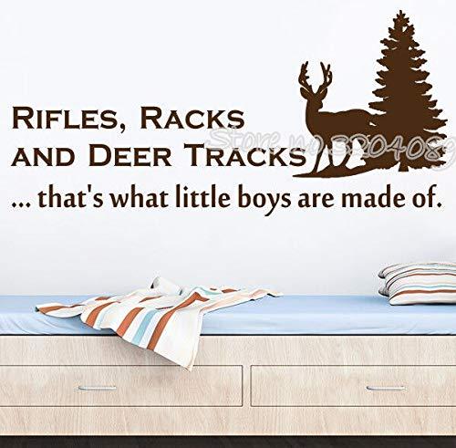 Gewehre Racks und Deer Tracks Wandtattoos Zitate Vinyl Hirsch und Baum Wand Aufkleber Jagd unter dem Motto Nursery Boy Schlafzimmer Wandbild 117X56CM Track Kompass