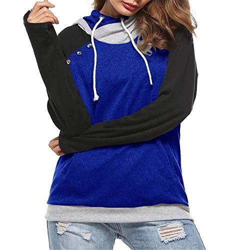 Domorebest Frauen Pullover Pullover Rollkragenpullover Hoodie Sweatshirt Bluse Langarm Tunnelzug Tops mit Taschen (Aeropostale Hoodies Frauen)