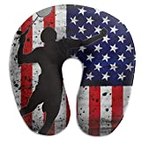 Rghkjlp Playing Badminton Retro Us Flag Indoor/Outdoor U-Shaped Neck Pillow Travel Sleeping Soft Pillows