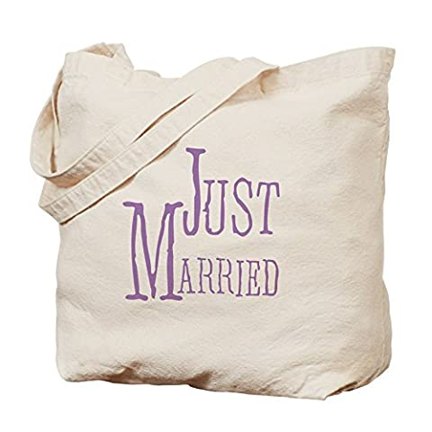 Newlywed Drôle - CafePress – Lilas Texte Just Married Naturel – Sac en toile,