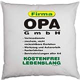 bedruckter Fun Kissenbezug - Motiv: Firma OPA GmbH... - witziges lustiges Geschenk Vater Mutter Mama Papa Familie Couch Sofa Bett Geburtstag