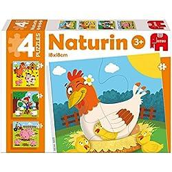 Diset - Naturin Granja, 4 puzzles de 4, 6, 9 y 12 piezas (69977)
