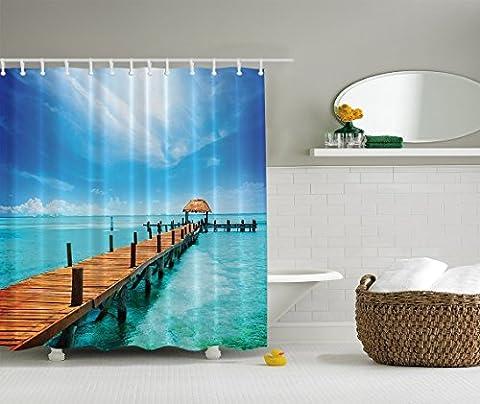 BBFhome Wasser Ozean-Landschaft Decor Collection, Holz Dock Malediven Tropical Island Seashore Gazebo Beach Cabana Print Polyester Duschvorhang, 150 x 180 Blau Türkis, Braun, Weiß