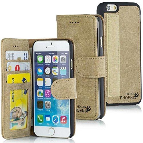Golden Phoenix ROYAL Lederhülle für Apple-iPhone-SE-5-5S mit abnehmbarem Backcover, Geldfach und Kartenschlitze inkl. Display Schutzfolie - Hülle Tasche in Schwarz Hellbraun