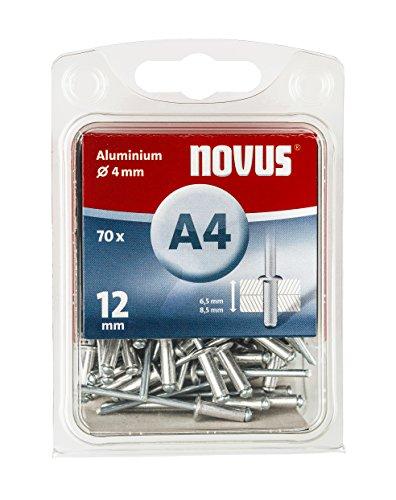 Novus Aluminium Blindnieten 12 mm, 70 Nieten, Ø 4 mm, 6.5-8.5 mm Klemmlänge, zur Befestigung von Kunst-Stoffen und Leder (6.5 Stoff)