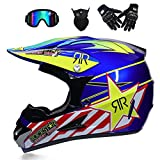 Adulti off Road Casco Motocross MX Moto Casco Mountain Bike Scooter ATV Casco D. O. T Certificato Maschere Guanti (M, L, XL),Yellowstar,M