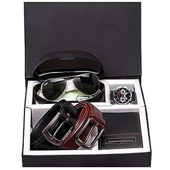 Elligator Attractive & Stylish Belt,Wallet,Sunglass & Wrist Watch Giftpack Combo (2 Belt,1 Wallet,1 Sunglass,1 Wrist Watch)