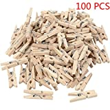 Aiming 100PCS 2.5x0.3cm Mini Naturale Clip di Legno per mollette Decorative Foto Papers