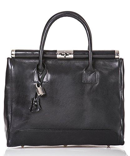 ff8236c9d2d3f italienische Damen Henkeltasche Monaco aus echtem Leder in schwarz ...