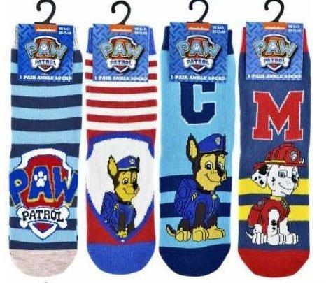 Paw Patrol-Boys 4 Pack Socks sizes 3-12