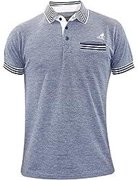 Hommes Kangol manches courtes polo col de poitrine t-shirt de poche haut