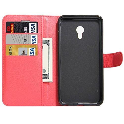 Meizu M5 / Meilan 5 Litchi Textur Horizontale Flip Leder Ständer Brieftasche Case mit Halter & Card Slots & Wallet by diebelleu ( Color : Green ) Red