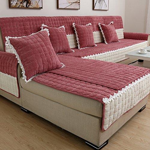 TT&CC Cuatro Temporadas de Fundas de sofá Universal,Sala Anti-Que Patina sofá Funda de Tela Felpa Simple Moderna Cuadros Cubierta Suave-E 70x70cm(28x28inch)