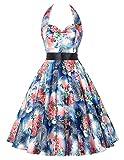 GRACE KARIN Grandes Flores Estampado Con Cinturón Vestido Vintage Vestido Retro 21# XL