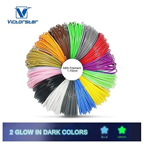 Victorstar @ 3D pluma filamento 12 colores + 2 colores brillan en la oscuridad para la pluma impresión 3D / dibujo 3D de la pluma / diámetro 1.75mm ABS-10 metros (32.8ft) cada color