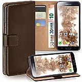 moex Samsung Galaxy S5 Mini | Hülle Dunkel-Braun mit Karten-Fach 360° Book Klapp-Hülle Handytasche Kunst-Leder Handyhülle für Samsung Galaxy S5 Mini Case Flip Cover Schutzhülle Tasche