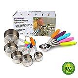Set di Tazze e Cucchiai Dosatori in Acciaio Inox Pieghevole Misura Tazza e Cucchiaio Perfetto per Cucinare Cottura o Cuocere