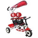 Goplus Triciclo a 2 sedili per Bambini Triciclo Doppio a Spinta, Regolabile con Maniglione e Parasole, Maniglione controlla Il Volante, Pedali Nascondibili