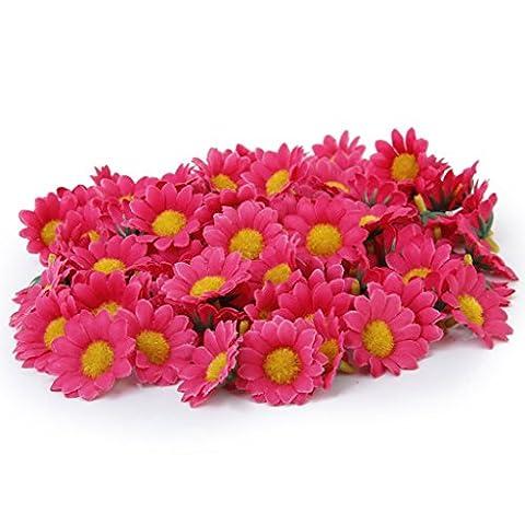 100 x Marguerite Gerbera Artificielle Têtes de Fleurs pour DIY Mariage Partie - Rose Rouge