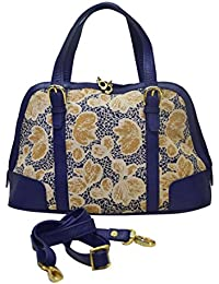 Shankar Produce - Fashionable Shoulder Bag - Stylish Hand Held Bag - Designer Fabric Bag - Navy Blue