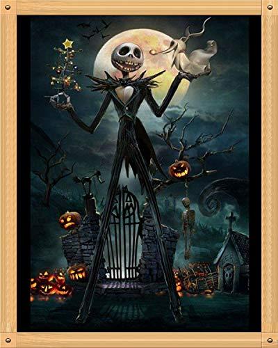 Diamant Malen nach Zahlen Kits Stickerei Strass eingeklebt Kreuzstich Handwerk Kunst Basteln Heimdekoration für Halloween - Totenkopf Geister Kürbis 30,5 x 40,6 cm ()