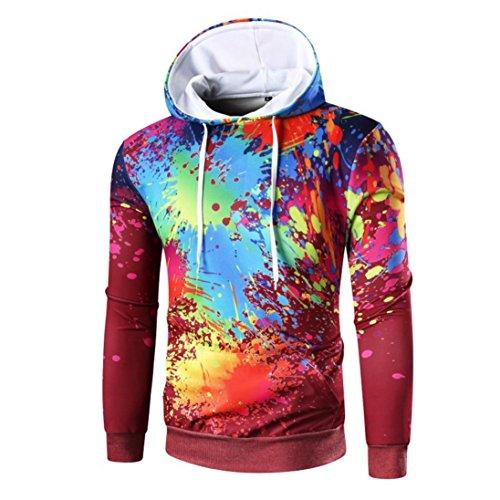 Luckycat Kapuzenpulli Herren Langarm Digitaldruck Hoodie Kapuzen Sweatshirt Tops Mantel Outwear Set Head Hooded Pullover Kapuzenpulli (Rot, EU 48-M)