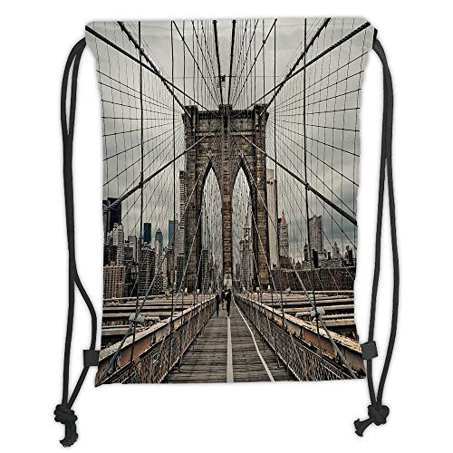 Juzijiang Drawstring Sack Backpacks Bags,United States,View of Historical Famous Brooklyn Bridge and Cable Pattern NYC Architecture,Beige Brown Soft Satin Closu,5 Liter Capacity,Adjustable. (Popcorn Brooklyn)