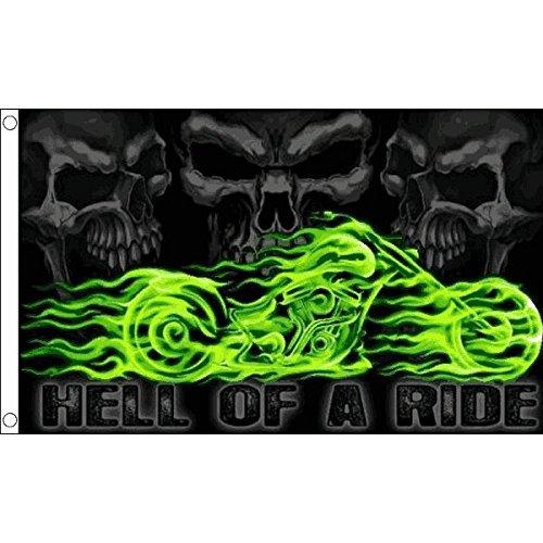 AZ FLAG Bandera Calavera Hell of A Ride 150x90cm - Bandera Pirata...