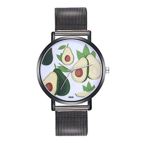 Casual Avocado (Godagoda Unisexuhr Casual Anolog Quarz Armbanduhr mit Edelstahl Armband und Avocado Muster Zifferblatt für Frauen und Herren)