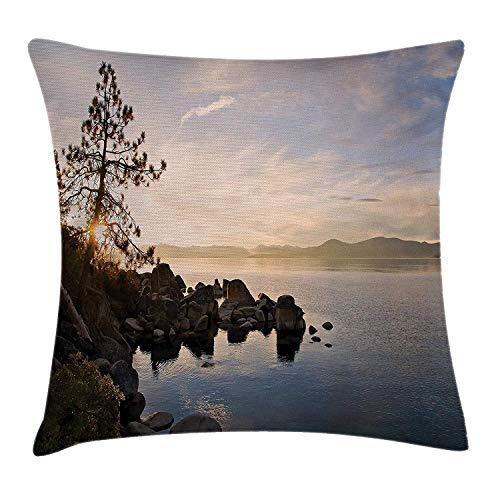 Dekokissen KissenbezugTahoe bei Sonnenuntergang Clear Sky und Single Pine Tree Rest Peace Weekend Foto Pillow Cushion Cover Pillowcase,45x45 cm -