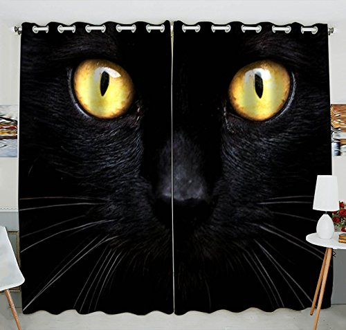 The Dark Blackout Curtains Window treatment Panel Drapes 52(W) x 84(H) inches (Two Piece) (Black Cat Customs)
