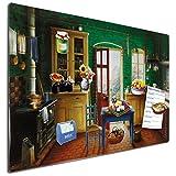 Blechschild Retro Küche Landhaus inkl. Magnete, Geschenk Frauen Freundin Oma, Braun Bunt, 40x60 cm
