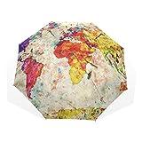 GUKENQ Vintage Weltkarte Reise-Regenschirm, leicht, UV-Schutz, Sonnenschirm, für Herren und Frauen, Kinder, Winddicht, faltbar, kompakt