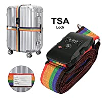 Luggage Strap with TSA Lock, LC-dolida Travel Luggage Strap with 3 Dial TSA Approved Lock, Adjustable Suitcase Belt Packing Belt Travel Tags for Airport Security and Baggage Claim Identification