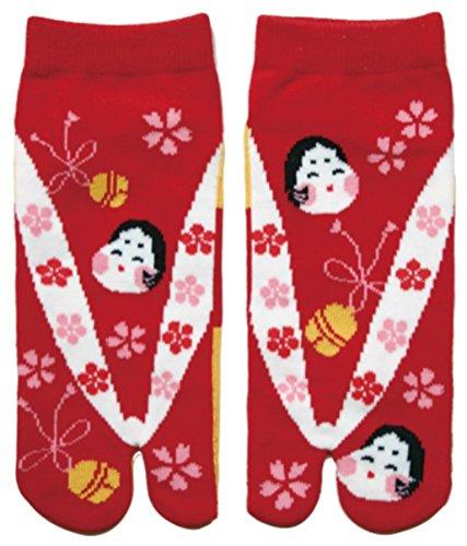 Damen Tabi Socken Zehensocken Otafuku Lächelnde Japanerin
